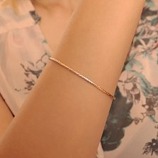 Золотой жесткий браслет Колосок с алмазной гранью