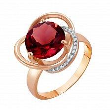 Кольцо в красном золоте Кристина с гранатом и фианитами