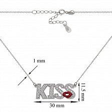 Серебряное колье с цирконием Kiss