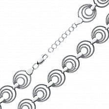 Серебряный браслет Коло в фантазийном плетении с декоративными элементами и чернением
