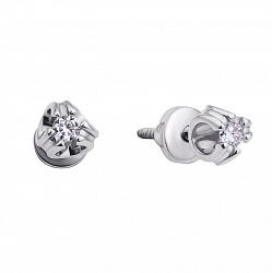 Золотые серьги-пуссеты Ревель в белом цвете с бриллиантами