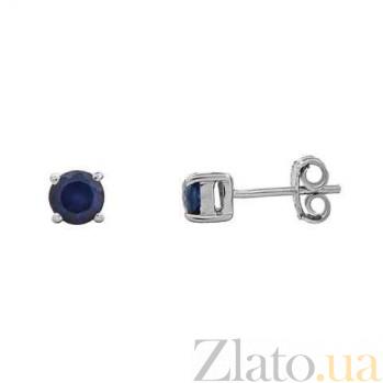 Серебряные серьги пусеты с сапфирами Лика AQA-E00649S