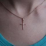 Золотой крестик Ронда с бриллиантом