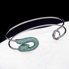 Серебряный браслет Булавка с зелеными фианитами