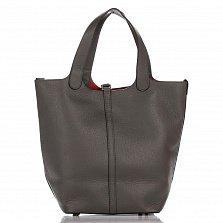 Кожаная сумка на каждый день Genuine Leather 8829 серого цвета с застежкой-ремешком и косметичкой