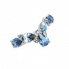 Серебряное кольцо Яра с кварцем под лондон топаз, голубым кварцем и фианитами