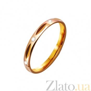 Золотое обручальное кольцо Дыхание страсти с фианитами TRF--4121274