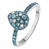 Кольцо в белом золоте Лана с голубым топазом и бриллиантами