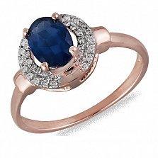 Кольцо из красного золота Леонсия с сапфиром и бриллиантами