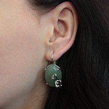 Серебряные серьги Цветочная драгоценность с зеленым авантюрином и чернением