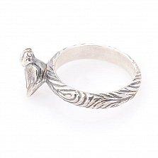 Серебряное кольцо Певчая птичка с чернением
