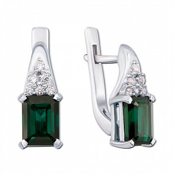 Серебряные серьги с зеленым кварцем и фианитами 000012660