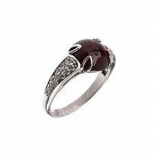 Серебряное кольцо Утисаль с гранатом и белыми фианитами
