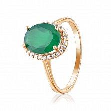 Кольцо в красном золоте Пилар с зеленым ониксом и фианитами