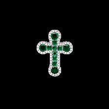 Золотой крестик Элронд в белом цвете с изумрудами и бриллиантами
