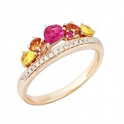 Золотое кольцо с рубинами, сапфирами и бриллиантами Весна