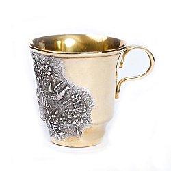 Серебряная чашка с позолотой и чернением 000004570
