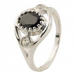 Серебряное кольцо Жермена с сапфиром и фианитами
