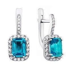 Серебряные серьги с кварцем swiss blue и фианитами 000134200
