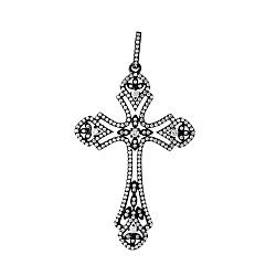 Серебряный крестик с фианитами и черным родированием 000077522