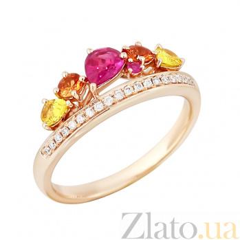 Золотое кольцо с рубинами, сапфирами и бриллиантами Весна 000029287