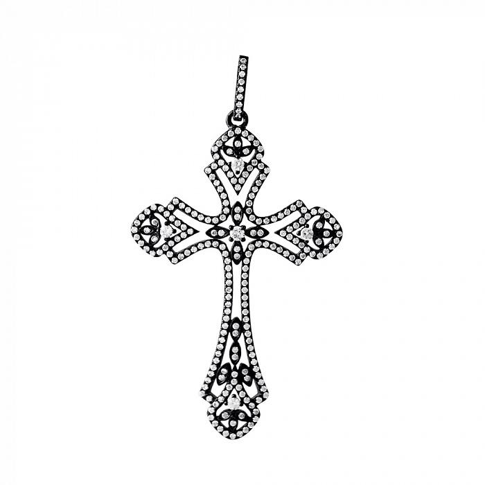 Серебряный крестик с фианитами и черным родированием 000077522 000077522