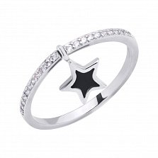 Серебряное кольцо Молодость с двусторонней подвеской-звездочкой, фианитами и черной эмалью