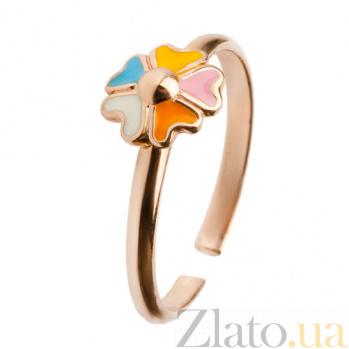 Детское золотое кольцо с эмалью Цветочек 000030585