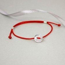 Шелковый браслет Клевер на удачу в красном цвете с серебряной вставкой и надписью