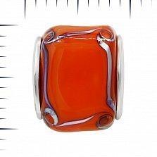 Серебряный шарм Мармелад с красным муранским стеклом