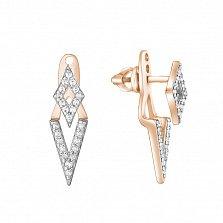 Серебряные пуссеты-джекеты Ромбики в позолоте с цирконием