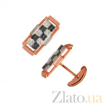 Запонки из красного золота с фианитами Джаз VLT--Е912/крас