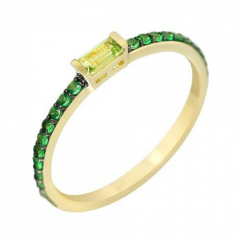 Кольцо из желтого золота с хризолитом и цаворитами 000114580