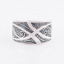 Серебряное кольцо Узорное чудо с фактурной шинкой
