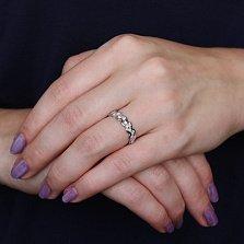 Золотое кольцо Чистый поток в белом цвете с бриллиантами