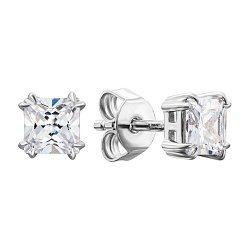 Серебряные серьги-пуссеты с фианитами 000134023