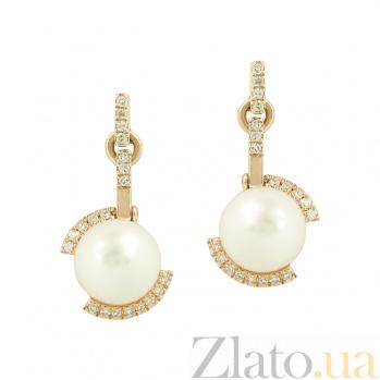Золотые серьги с жемчугом и бриллиантами Ундина 1С551-0255