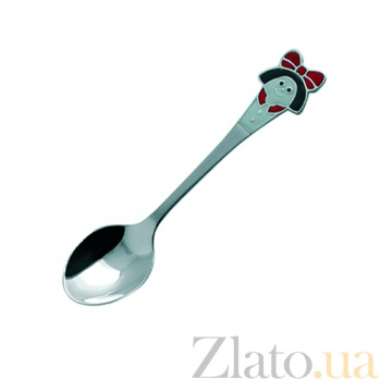 Серебряная кофейная ложка детская Девочка с эмалью  ZMX--1285_1020