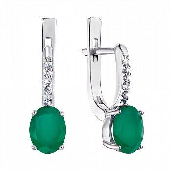 Серебряные серьги с зеленым агатом и фианитами 000064440