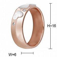 Кольцо из красного золота с перламутром и бриллиантами Романтика