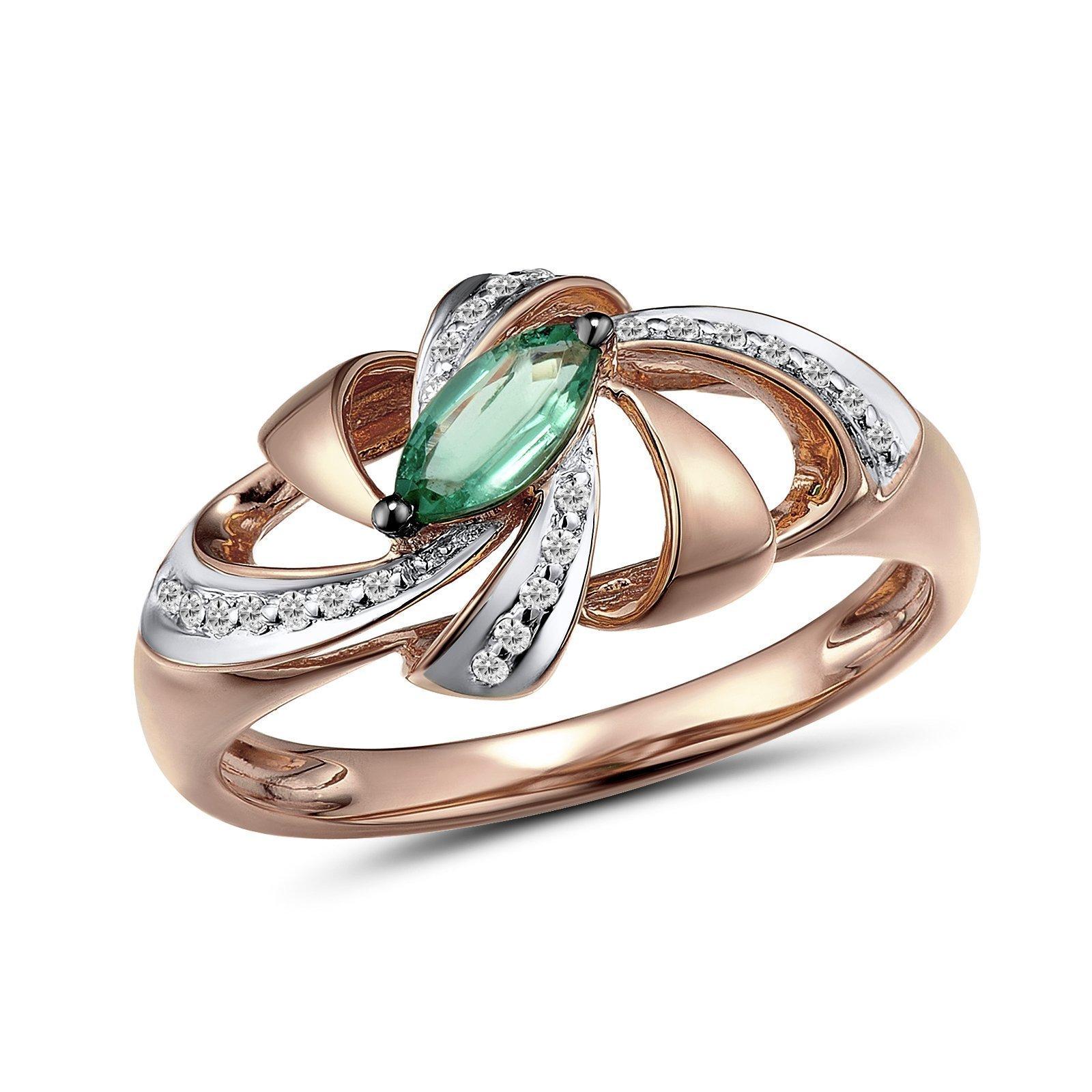 Кольцо из красного золота Эльмира с бриллиантами и изумрудом