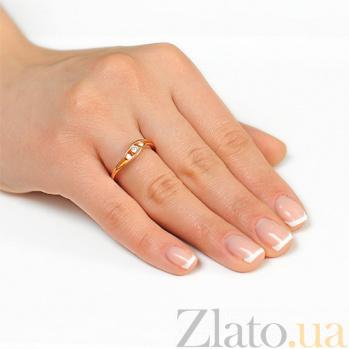 Золотое кольцо  с тремя бриллиантами Знаки внимания EDM--КД7507