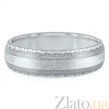 Мужское обручальное кольцо из белого золота Благодарю 753