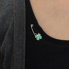 Серебряная булавка Четырехлистный клевер с зеленой эмалью