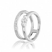 Двойное кольцо из серебра Фанни с фианитами