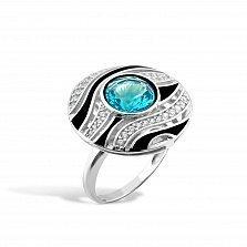 Серебряное кольцо Лейла с голубым и белыми фианитами, черной эмалью
