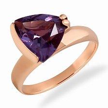 Золотое кольцо Лира в красном цвете с александритом