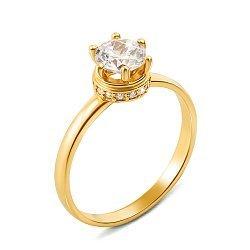 Золотое помолвочное кольцо Мальта в желтом цвете с фианитами