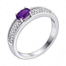 Серебряное кольцо с аметистом и фианитами 000103079