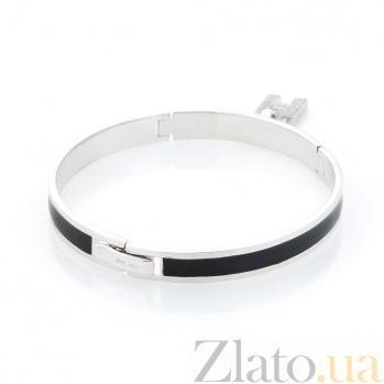 Серебряный браслет Буква Н с фианитами и черной эмалью 000068614